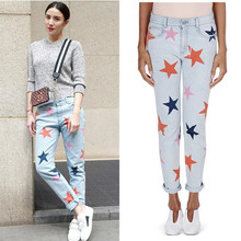 2016 jeans women plus size straight Denim pants ladies fashion star pattern jeans high quality trousers(China (Mainland))