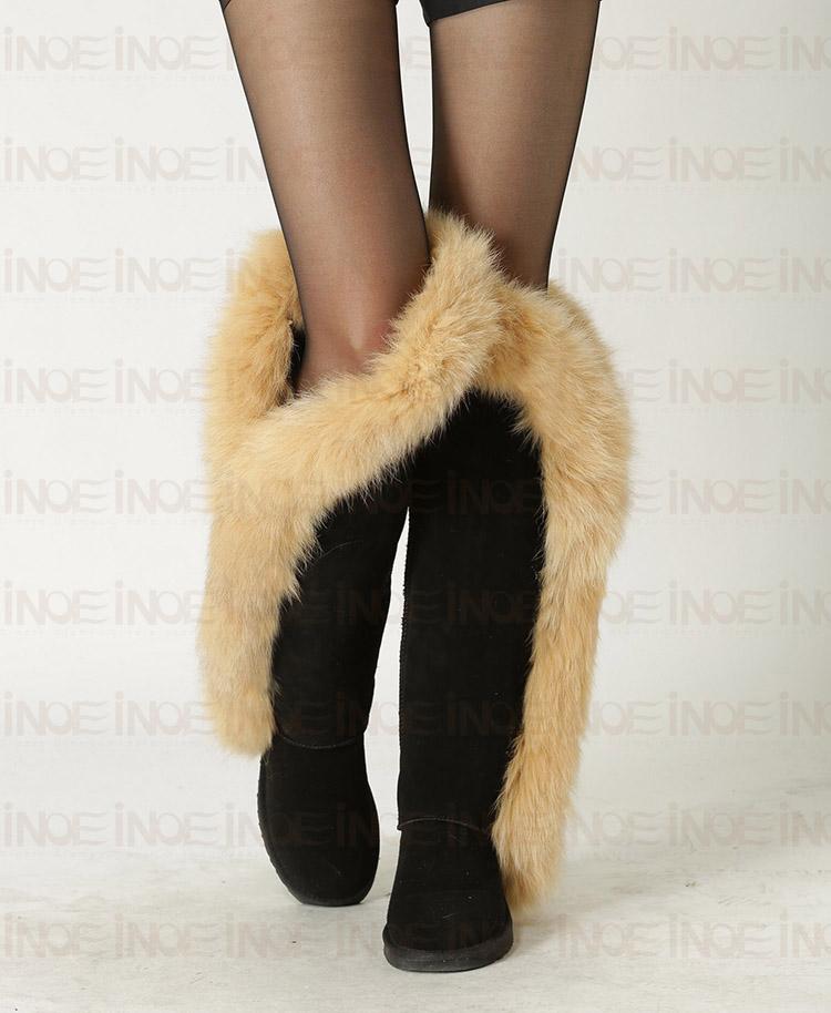High Quality Super Big Nature Fox Fur Fashion Snow Boots For Women