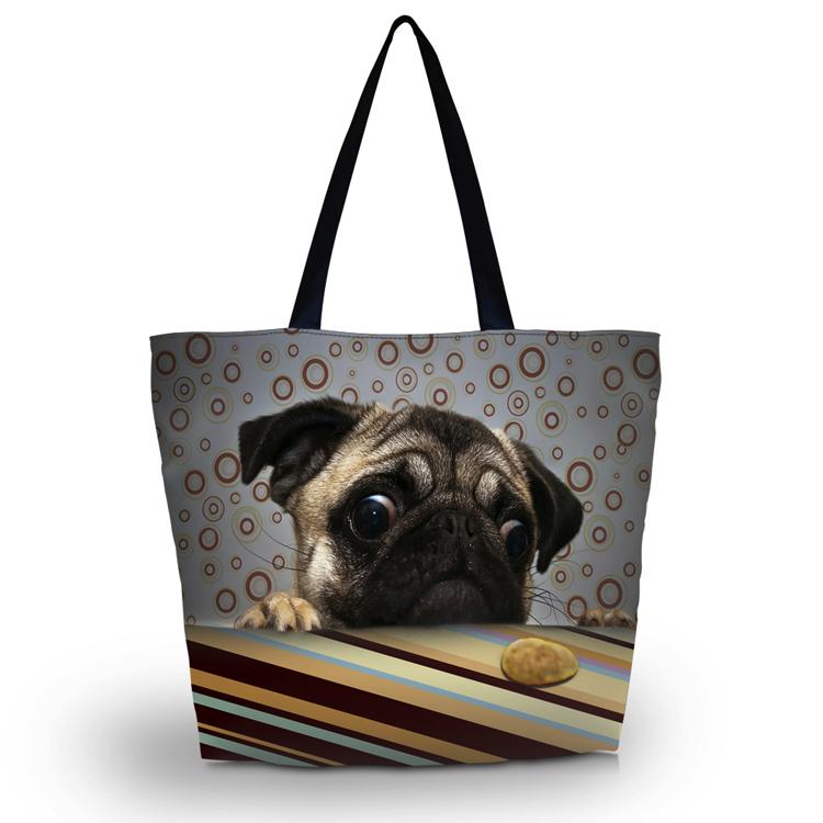 Cute Pug Soft Foldable Tote Women's Shopping Bag Shoulder Carry Lady Handbag - NO:1 BAG SHOP store