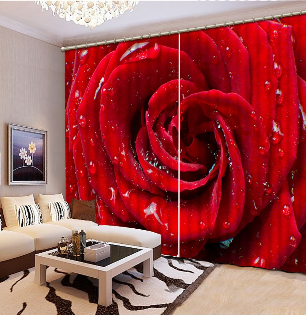 3d curtains Red rose Curtains for living room 3D Window Curtains Factory diret sale(China (Mainland))