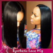 Silky Straight Wig font b Natural b font Hairline For Black Women Cheap Synthetic Wig Synthetic