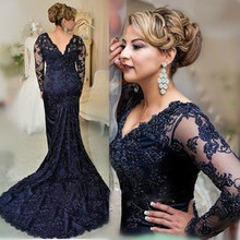 2016 New Royal Blue Mermaid Lace Appliqued Mother Of The Bride Dresses Beads Long Sleeves Formal Evening Gowns Plus Size(China (Mainland))