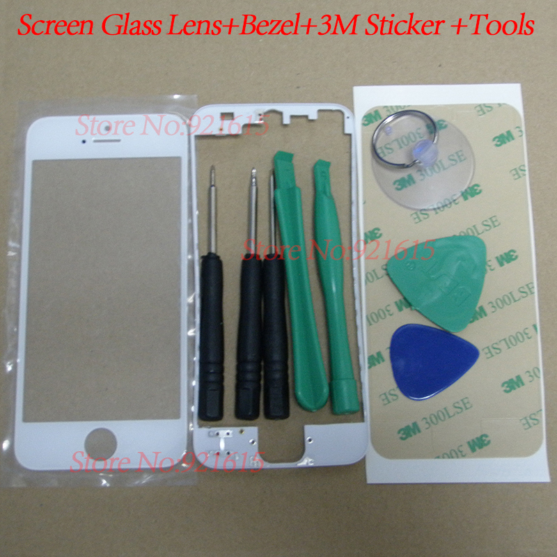1Set LCD Touch Screen Panel Front Glass Lens with Frame Bezel 3M Adhesive Sticker Tape Screwdriver Tool Kits for iPhone 5
