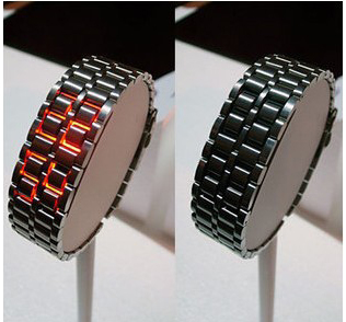 free shipping LED digital all steel lava watch, for men and women, children, stainless steel, black and silver type, fashion(China (Mainland))