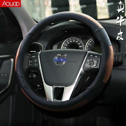 Genuine leather Head layer cowhide Steering wheel covers Auto Parts Car accessories for volvo V40(China (Mainland))
