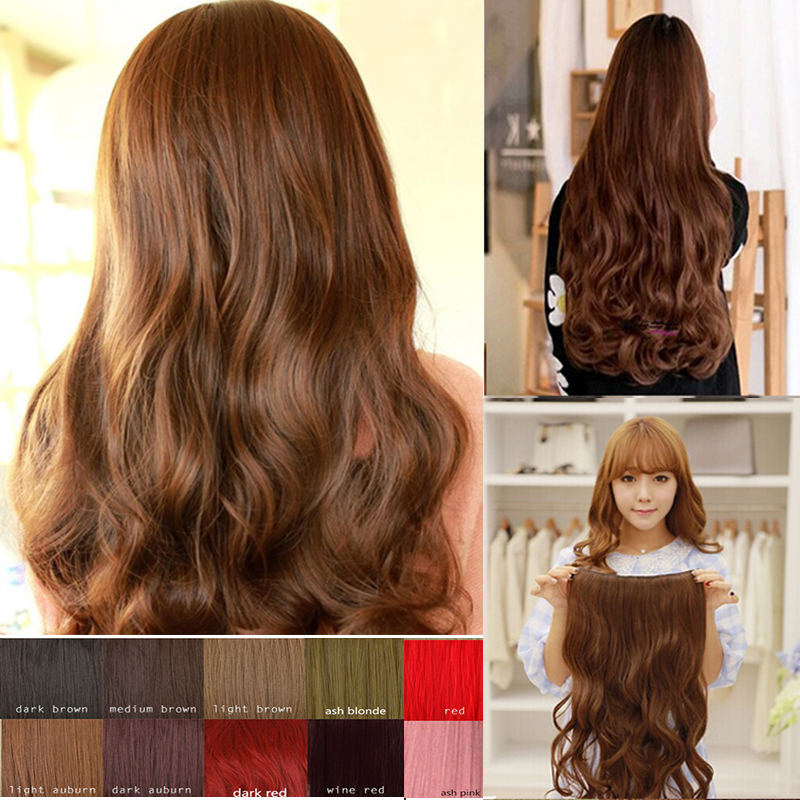 Mega Hair Clip In Hair Extensions 3/4 Full Head Brown Blonde Curly Wavy One Piece Sexy Lady(China (Mainland))