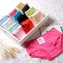 2015 Newest Candy Color Sweet Cotton Panties Underwear Women Medium Waist Briefs Lingerie Underpants Women XL(China (Mainland))