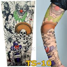 Free Shipping 2015 New Fashion Punk 2Pcs Men Women Tamporary Charm UV Skull Theme Fake Tattoo Sleeves(China (Mainland))