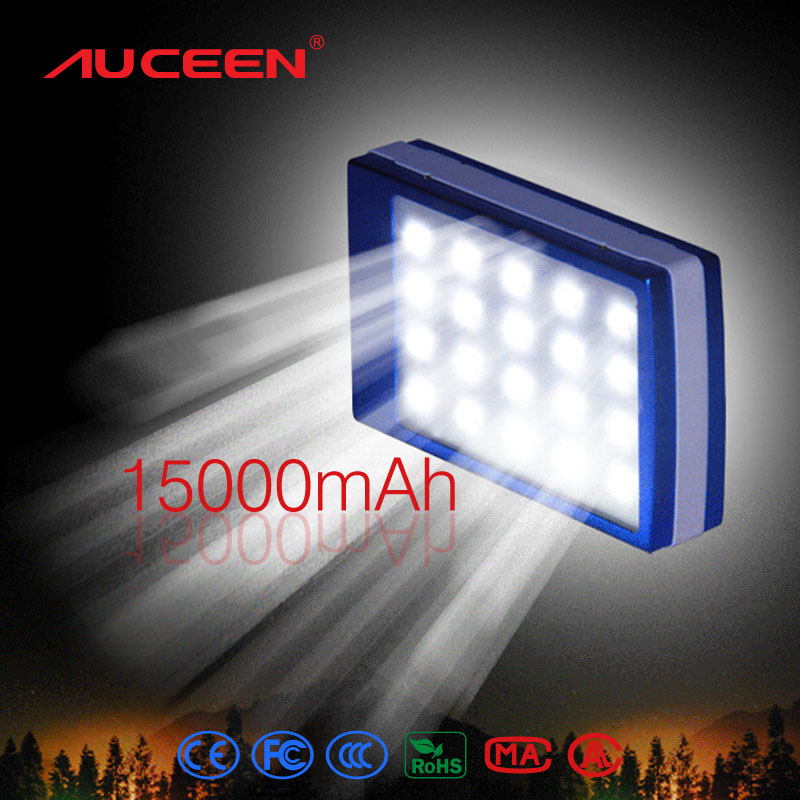 Auceen Real 15000mAh Solar Power Bank + LED Camping Light Backup Battery Solar Charger Portable Rechargeable for Mobile Phones(China (Mainland))