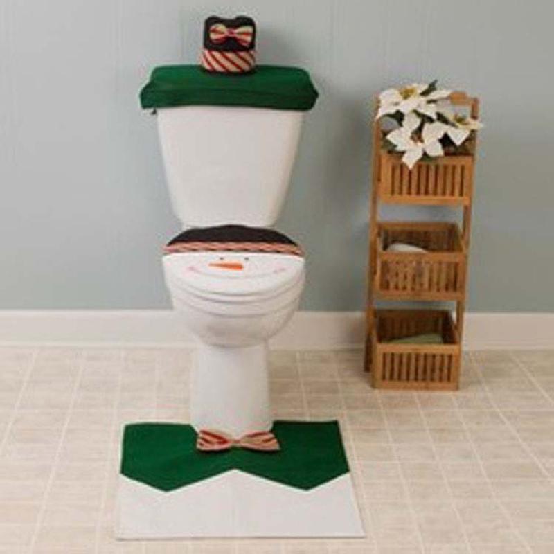 New year Best Happy Santa Toilet Seat Cover & Rug Bathroom Set marry Christmas Decorations adornos de navidad kerst decoratie(China (Mainland))