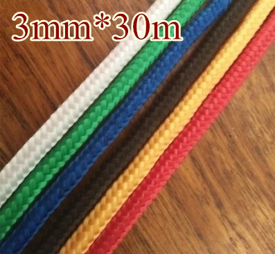 6 colors 3mmx30m braided poly rope Polypropylene rope DIY accessory hang tag bondage clothes line boat sailing free shipping(China (Mainland))