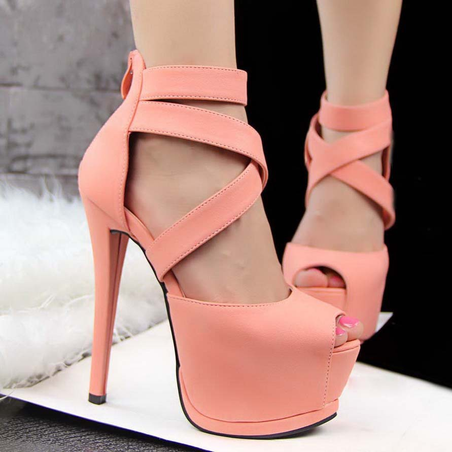 2015 Open Toe Strappy Platform Faux Suede 14CM Thin High Heels Sandals Shoes Sapatos Femininos Drop Shipping - Brand fashion store