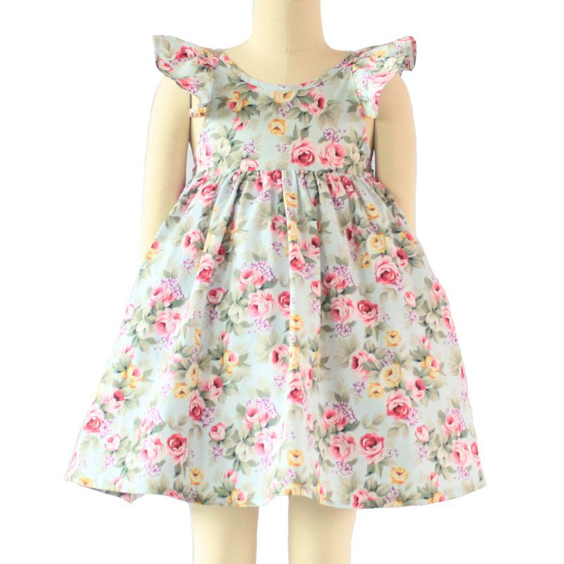 2016 Summer Girl Dress Fashion Butterfly Sleeve Floral Girls Dresses 18M-7Y Casual Beach Baby Girl Clothes Kids Dress c50(China (Mainland))