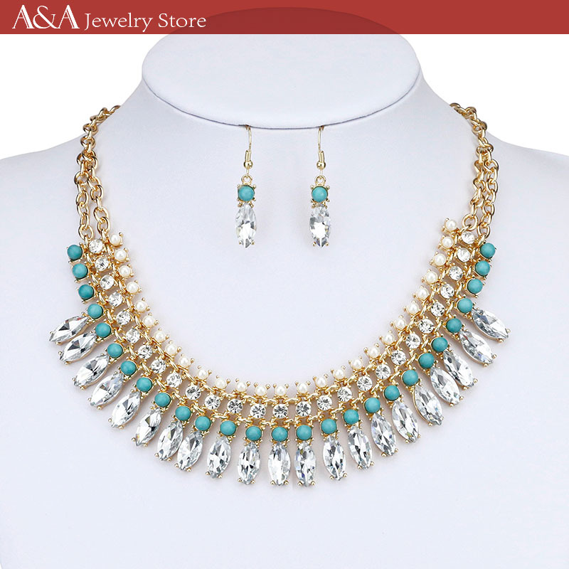 Gold Necklace 3 Tiers Crystal Turquoise Chain Necklaces Trendy Lovely Women Necklaces Brand A&A Jewelry(China (Mainland))