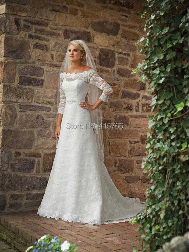 Wedding Dresses Modified A Line : Lace modified a line gown bridal wedding dresses in