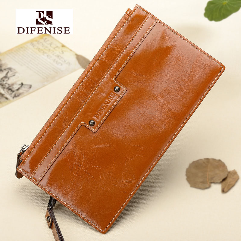 Difenise Slim Design women' wallets The first layer oil wax cowhide leather High quality solid zipper Clutch purse with Gift box(China (Mainland))
