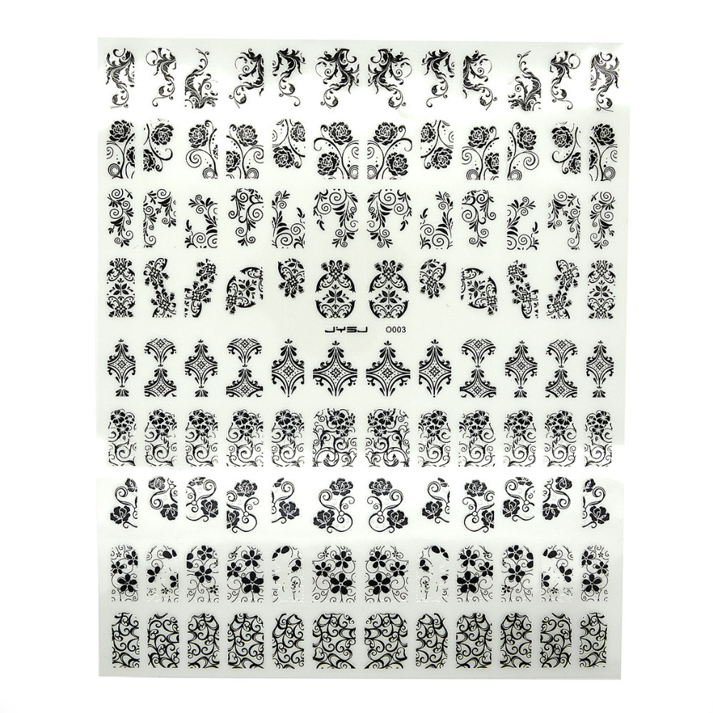 Top Quality 108pcs/1sheet Black Mix Designs Flowers Nail Decal 3D Nail Art Stickers Decal Nail Art Tip DIY Decoration Paste(China (Mainland))