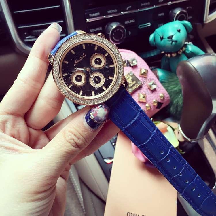 Многоцветный Женщины Дамы Кварцевые Часы Rhinostone Кожаный Ремешок Наручные Часы Женщины Бизнес Платье Часы Часы Reloj Mujer OP001