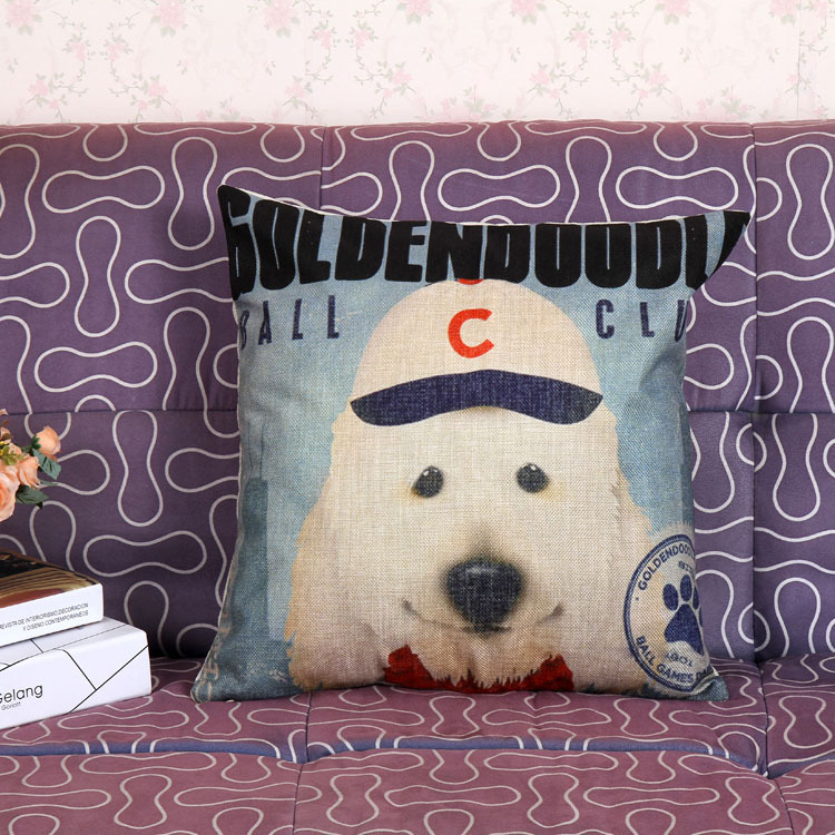 square home room pillow case cushion cover white doctor dog printed vintage stytle loveumom(China (Mainland))