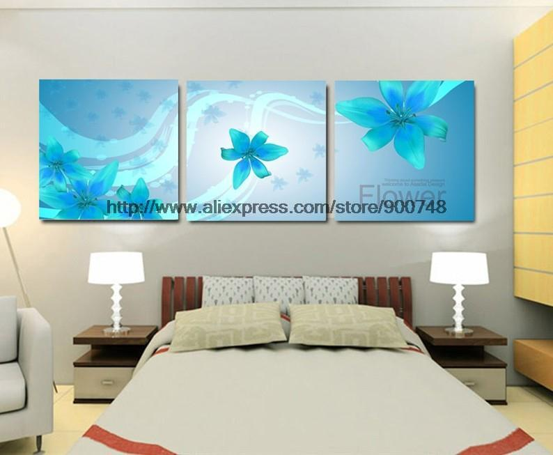 3 Piece Wall Art On Canvas Wall Oil Painting Modern Home Decoration Blue Western Paintings Free Shipping Pop Art Buy(China (Mainland))