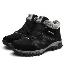 JKPUDUN Deri Erkekler Boots Kış Kürk ile 2019 Sıcak Kar Botları Erkek Kış Iş rahat ayakkabılar Sneakers Yüksek Üst Kauçuk yarım çizmeler(China)