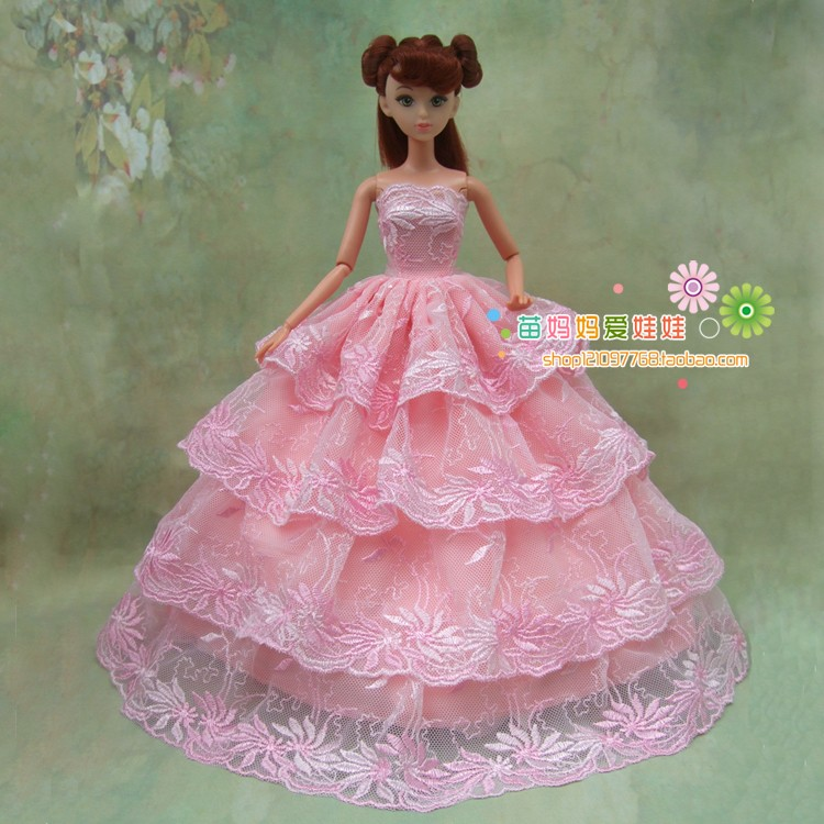 free transport 1 pcs four layers full round pink lace brided gown for barbie doll wedding ceremony gown