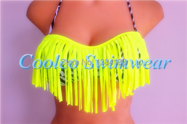 2014 Fashion Brand Tassel Bra Woman Sexy Bikini Set PAD Swimsuits Sport Fringe Top Swimwear Beachwear leopard zebra bikini(China (Mainland))