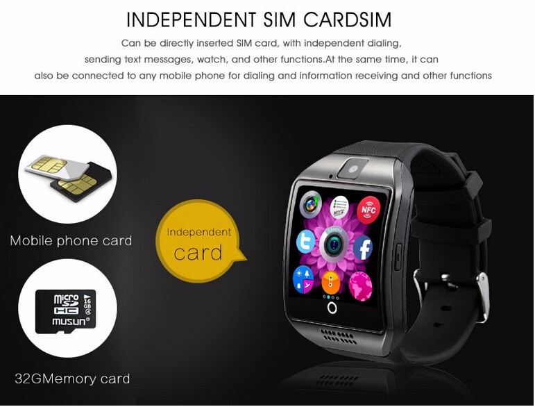 2016 New Smart Watch Q18 Smartwatch for Android Phone  Facebook Twitter MP3Mp4 NFC Pedometer Sleep Tracker Smart Watch Android