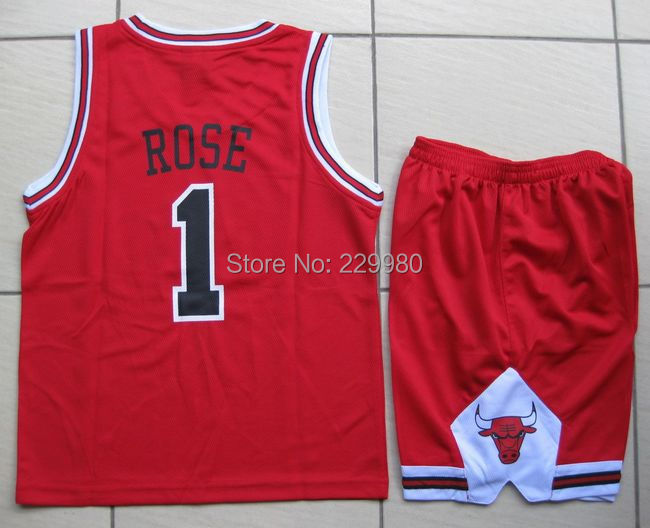 3 Colors Kid's Childrens Boys Girl's Basketball Jersey Suits Clothing Set Shirt + Shorts Print#1 - Children Jerseys store