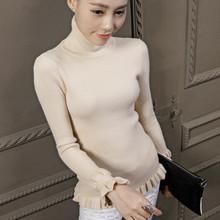 Autumn winter 2016 women fashion turtleneck knitting sweater pullover women's casual slim warm knitwear jumper sweter mujer(China (Mainland))