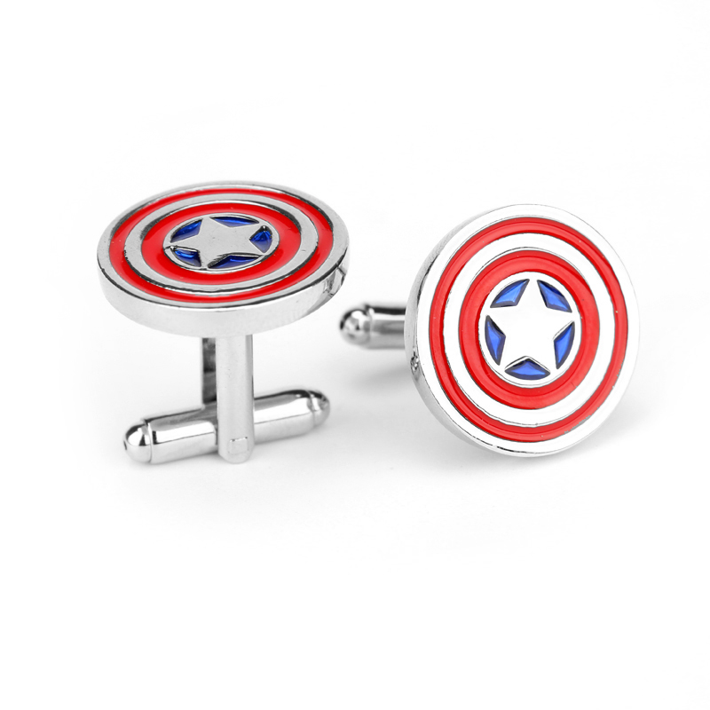 Movie Captain America Cufflinks Red Color Fashion Novelty Superhero Design Round Resin Cuff Links Button Free Shipping(China (Mainland))