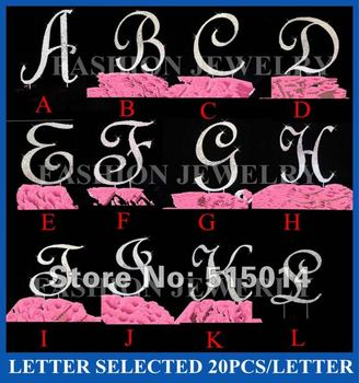 """Hot Sale !20pcs/lot 4.7""""/12cmHeight Rhinesone Letter Cake Topper for Wedding"""