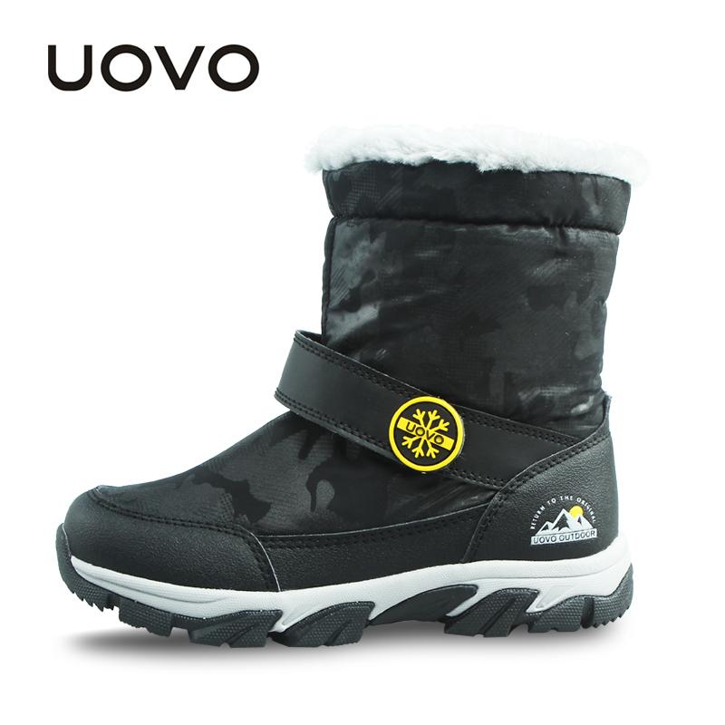 UOVO NEWEST 2017 Children Boots Warm Winter Kids Boots Mid-Calf Snow Boots for Boys Winter Children Shoes Boys Shoes
