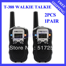Free shipping  0.5W UHF Auto Multi-Channels 2-Way Radios Walkie Talkie interphone T-388 3 Pairs/ lot  #EC010