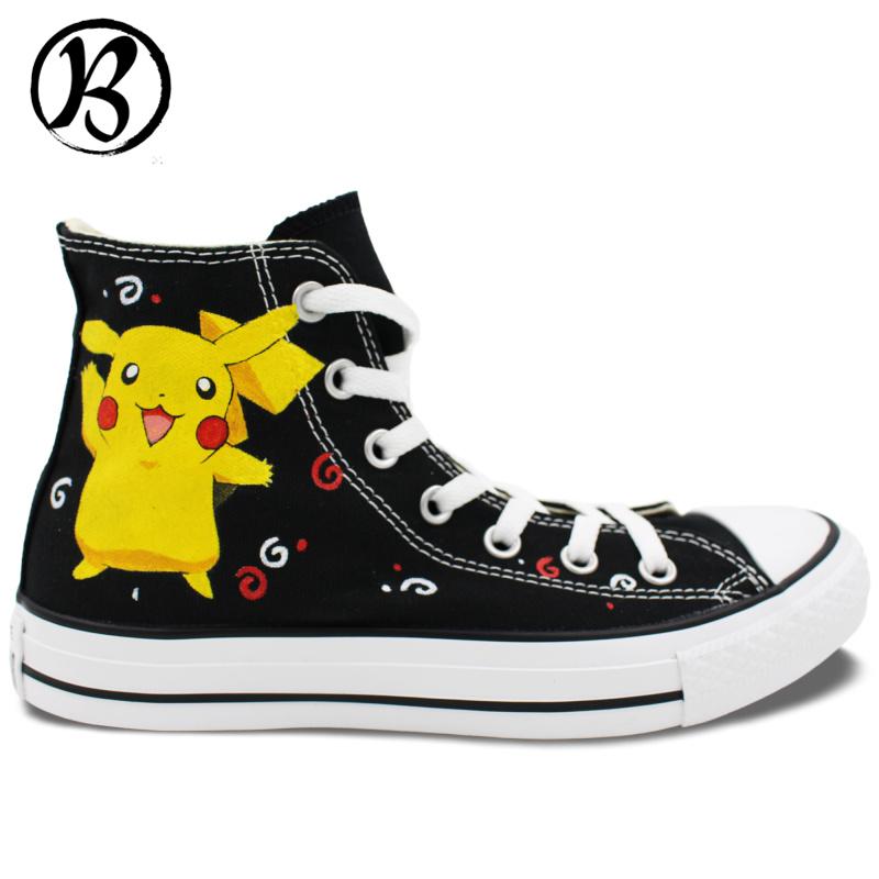 Pikachu font b Pokemon b font Painted font b Shoes b font Anime font b Shoes