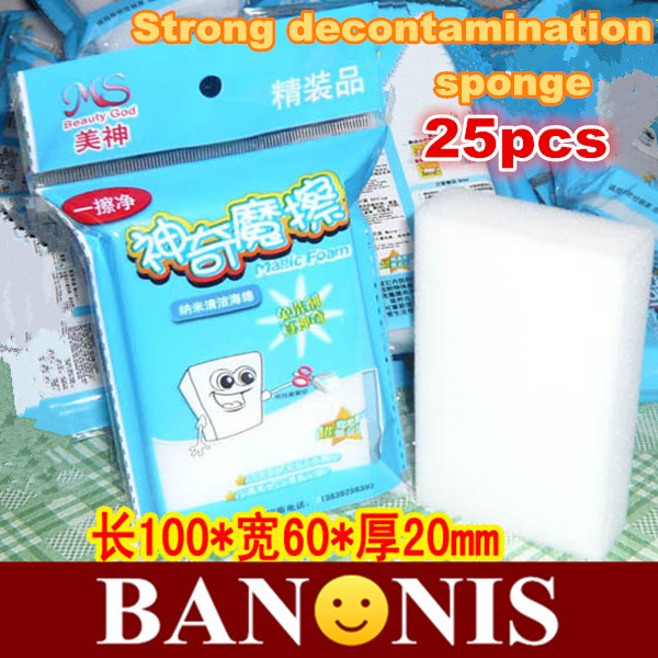Cleaning sponge magic nano purifier,strong decontamination,automotive / keyboard / cups other clean cotton,kitchen supplies,25 x(China (Mainland))
