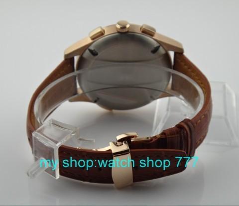 44 мм ПАРНИС Азии Автоматического движения Ветра мужские часы высокого качества Швейцарские часы Розовое золото бабочка пряжка x0010