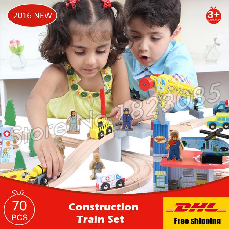 70pcs diecasts toy vehicles kids toys train model cars wooden puzzle building slot track rail transit