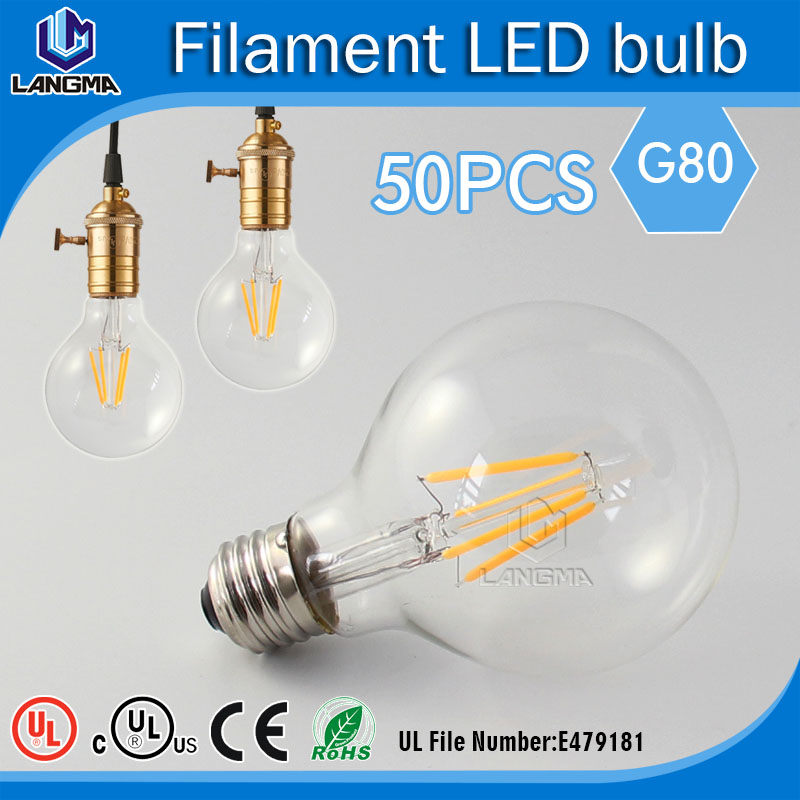 50pcs/lot Antique Style Dimmable Vintage Look Edison Globe 4 Watt Light Bulb G80 E26 Base for Pendant Lighting and Wall Scones(China (Mainland))