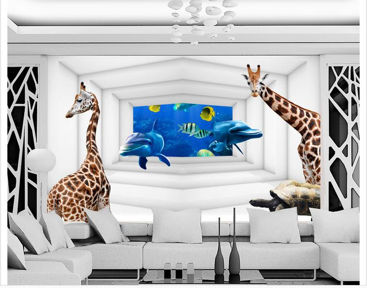 Customized 3d wallpaper 3d wall murals wallpaper animal for Mural 3d simple