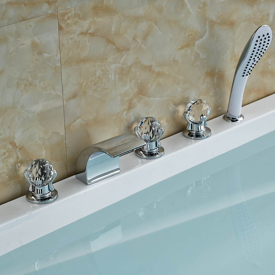 Bathroom Faucets Glass Handles high quality deck mounted bath faucets glass ceramics promotion
