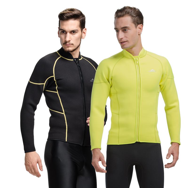 SBART 3MM Neoprene Wetsuit Jacket Men Long Sleeve Full Zipper Super Stretch Wetsuits Tops Surfing L737 - Sbart Water-Swim Store store