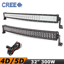 Curved 32 inch LED Light Bar 300W CREE 4D / 5D Offroad Driving LED Bar For Toyota Nissan BMW RZR 4X4 Truck ATV SUV Pickup(China (Mainland))