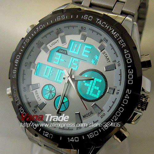 2015 HOT SELL FULL STAINLESS STEEL MILITARY WATCHES DUAL CHRONOGRAPH ANALOGUE DIGITAL HOURS DATE MED LCD MEN WRIST WATCH(China (Mainland))