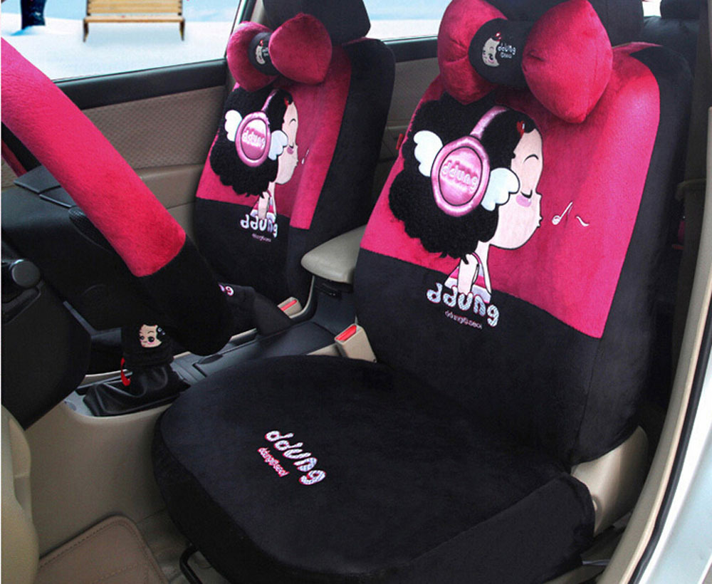 18pcs new women lovely cartoon car seat cover plush cloth seat covers car covers Steering wheel covers headrest(China (Mainland))
