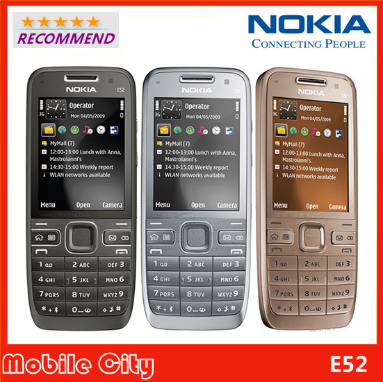 Original Refurbished Unlocked Nokia E52 Mobile Phone Camera 3.2MP Bluetooth WIFI Support Arabic / Russian Keyboard Free Shipping(China (Mainland))
