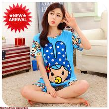 2015 new summer style pajamas for women modal  cartoon pajamas sleepwear suit with short sleeves, optional 16 color, L-XL-SIZE(China (Mainland))