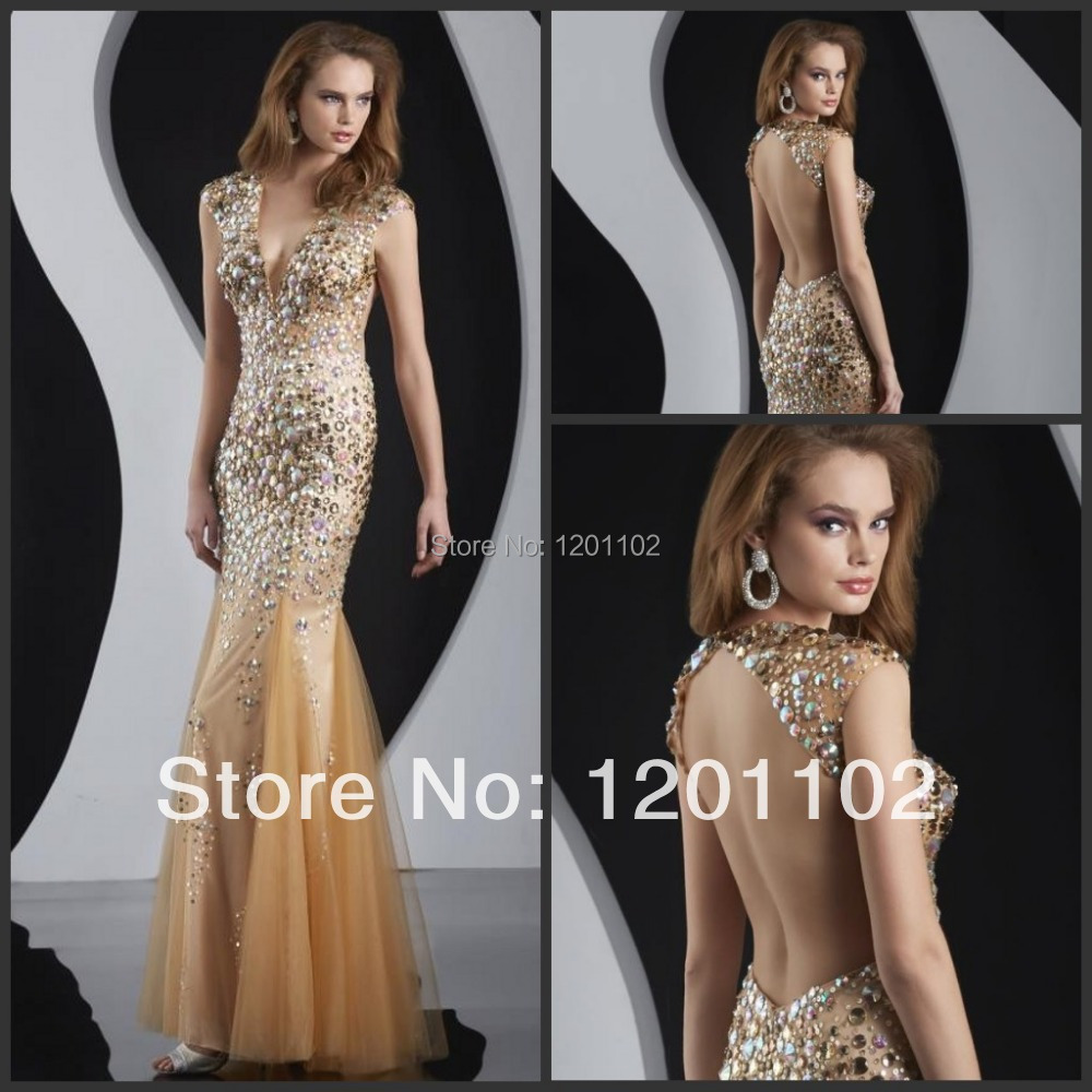Robe De Soiree Modest Cap Sleeves V-neck Open Back Champagne Gold Mermaid Evening Dresses 2015 New Arrival Formal Pageant Gowns(China (Mainland))