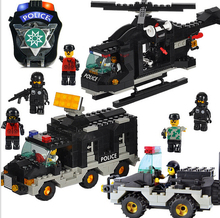 SLUBAN 499Pcs City Swat police helicopter jeep command car DIY Building Block Kids Educational Toys Compatible with legodt