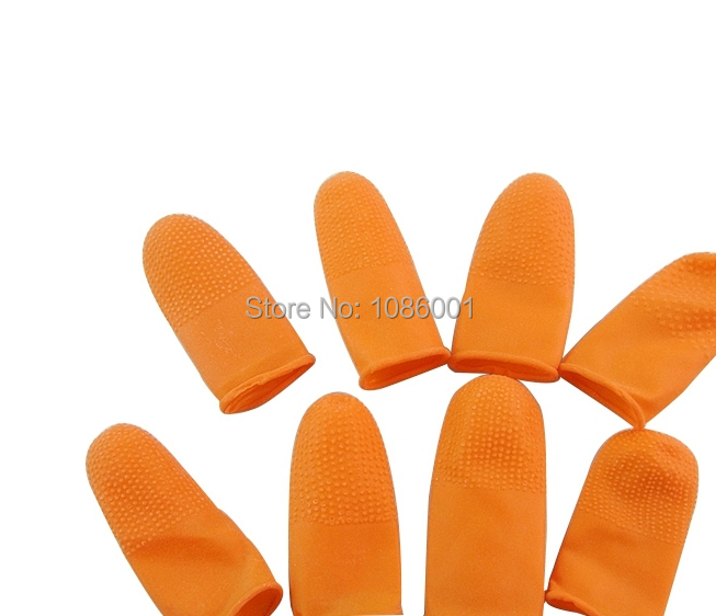 Orange slip-resistant finger cots rubber latex anti-static fingerstall dust proof finger cots hand protection products(China (Mainland))